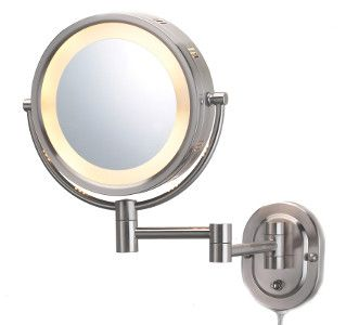 Lighted Wall-Mount Magnifying Mirror
