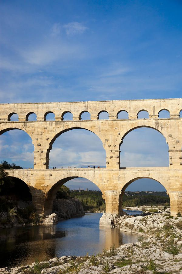 Pont Du Gard, an ancient Roman aqueduct that crosses the Gardon River in Vers-Pont-du-Gard near Remoulins, in southern France.