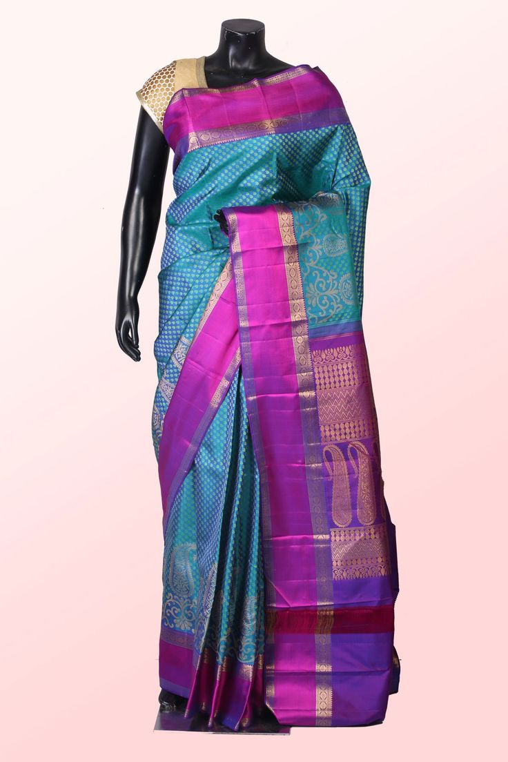 Pure kanchipuram silk #blue weaved admirable #saree with rani #pink & #gold border -SR10237