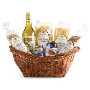 Gift Basket (Ideas: Wine, Olive oil, fine pasta, sauce, olives, bread, jam)