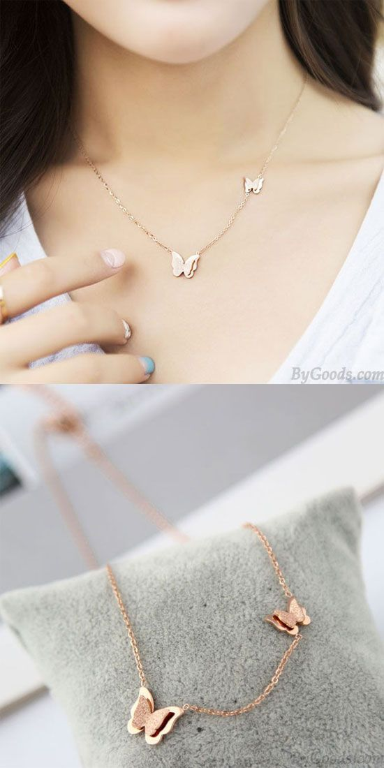Cute Rose Gold Doublue Butterfly Pendant Animal Necklace for big sale! #butterfly #necklace #animal #cute #rosegold