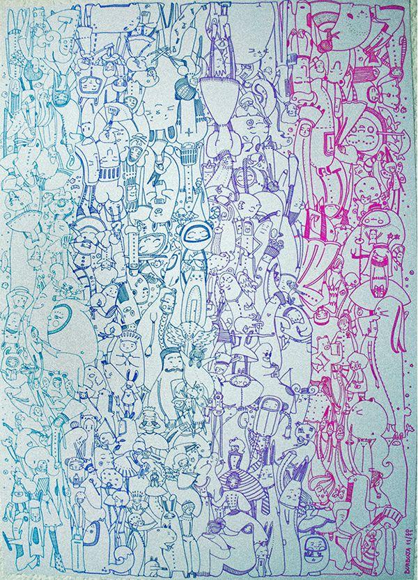 """""""Despedida"""". Ilustración realizada con microfibras de colores. Tamaño 50 x 70 cm. Para la exposición """"Rayas"""", Centro Cultural C' est la Vie, La Plata. Noviembre 2011. Organizada por Cecilia Castillo."""