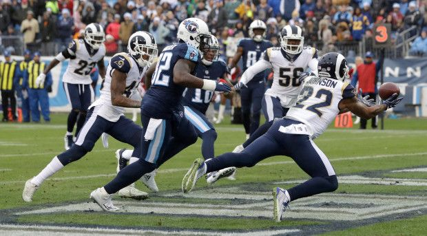Game #15 2017: Rams wins NFC West, 27-23 win Titans in Nashville. Rams at 11-4 NFC West Title in 14 yrs (2003). Rams CB Trumaine Johnson (22) interception. (google.image) 12.24.17 (Sun) #3/7
