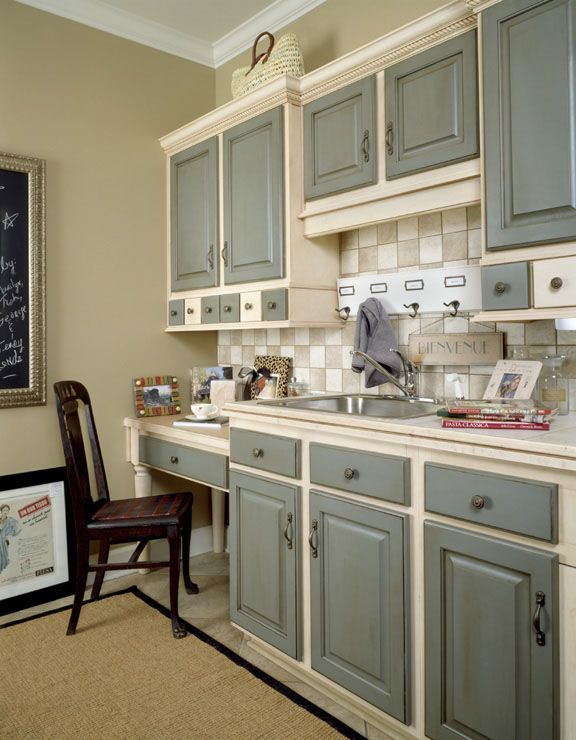 grey kitchen cabinets two tone | grey basecoat with chocolate glaze on doors and drawer fronts pickled ...