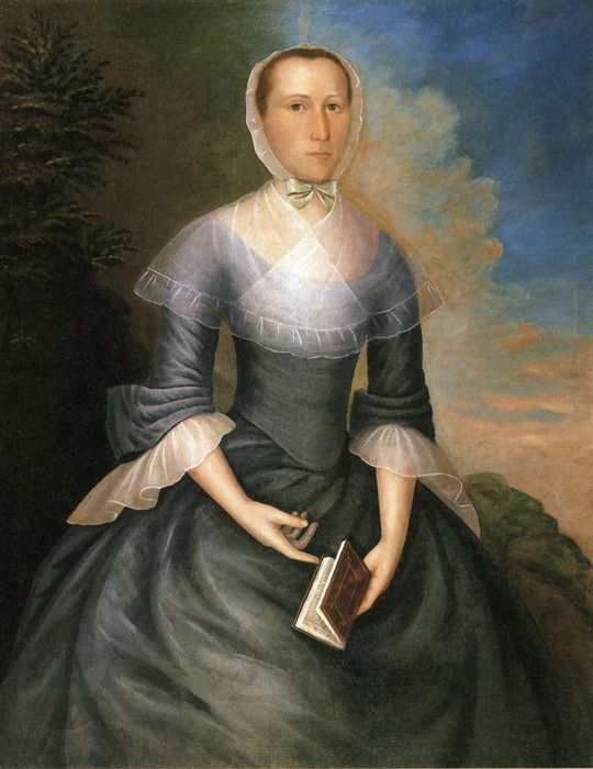 """Mrs. Nathaniel Brown (Anna Porter Brown). Joseph Badger (ca. 1707–1765).  Badger was a portrait artist in Boston, Massachusetts in the 18th century. He painted some 80 portraits of merchants, businessmen, clergy, and other notables, and their wives and children.  He """"began his career as a house-painter and glazier, and … throughout his life continued this work, besides painting signs, hatchments and other heraldic devices, in order to eke out a livelihood when orders for portraits…"""