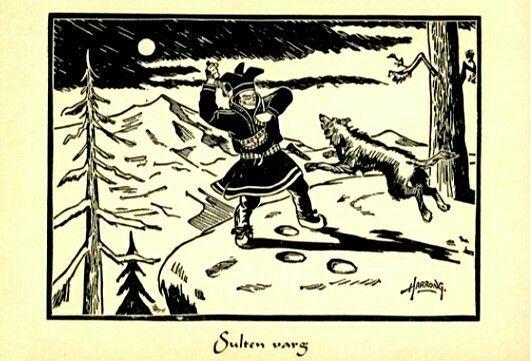 Kunstnerkort Odd Harrong Samisk motiv Sulten varg