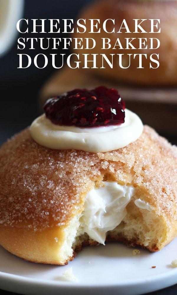 Cheesecake Stuffed Baked Doughnuts feature a fluffy yeast-raised doughnut coated…