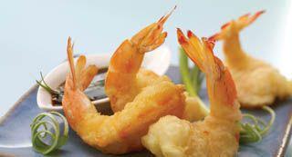 Sesame Tempura Shrimp : Serve these Tempura Shrimp, flecked with sesame seeds, as an hors d'oeuvre or as a main dish.