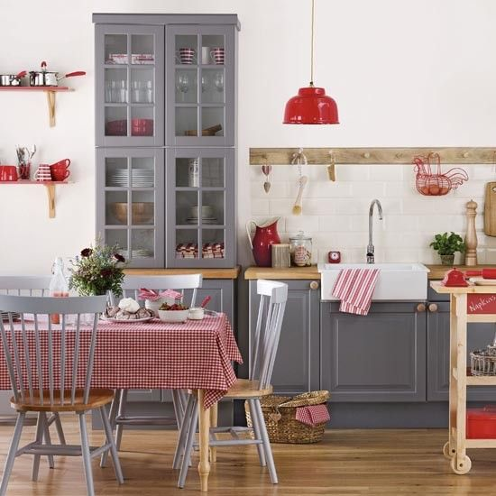 Red and grey kitchen-diner   Kitchen room ideas   PHOTO GALLERY   Ideal Home   Housetohome.co.uk