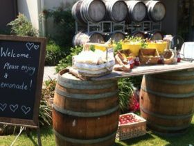 Are you looking for #WineBarrels with a plank between them, like our image below taken at a recent wedding at #IronbarkHillVineyard at Pokolbin? Great for a #lemonade stand! Compliments our #rustic wooden black board as well. We also have 9 rustic #VintageTables to hire as well. These seat 10 people 1.8m x 1.2m wide. These are made fr...