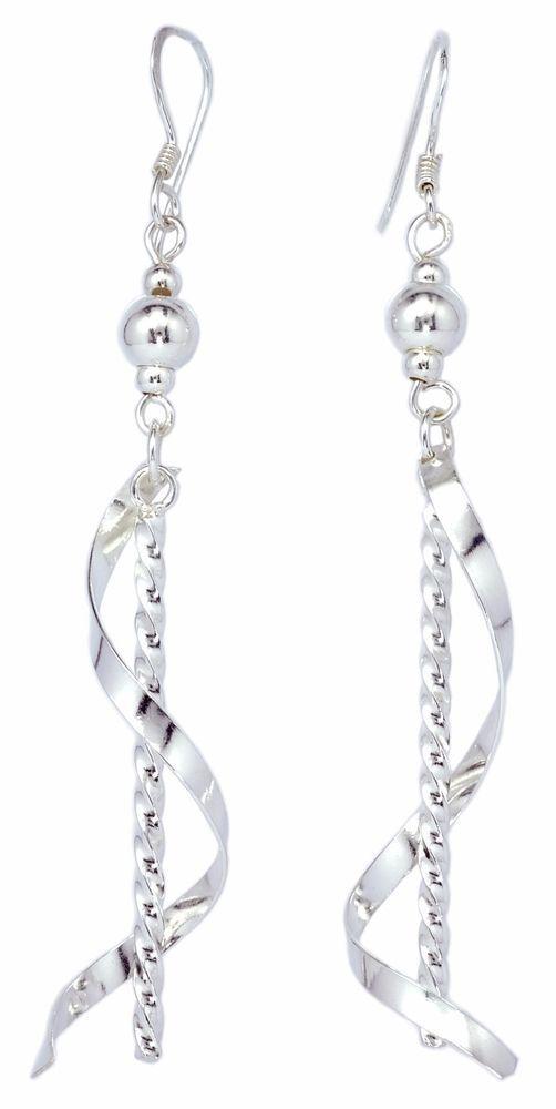 Stick Twist Drop Roll on 925 Sterling Silver Dangle Earrings for Women [ISE0042] #BKGjewelry #DropDangle