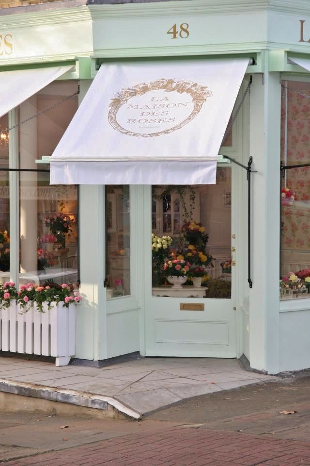 La Maison Des Roses | London.  I like the awning.  This could be done at the store, the logo is prominent, and it is eye catching.