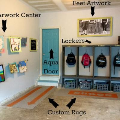 great idea for a mudroom right in your garage. Why even step foot in the house with those muddy boots and backpack! From the art work wall to the actually shelving this garage mudroom is a home run!