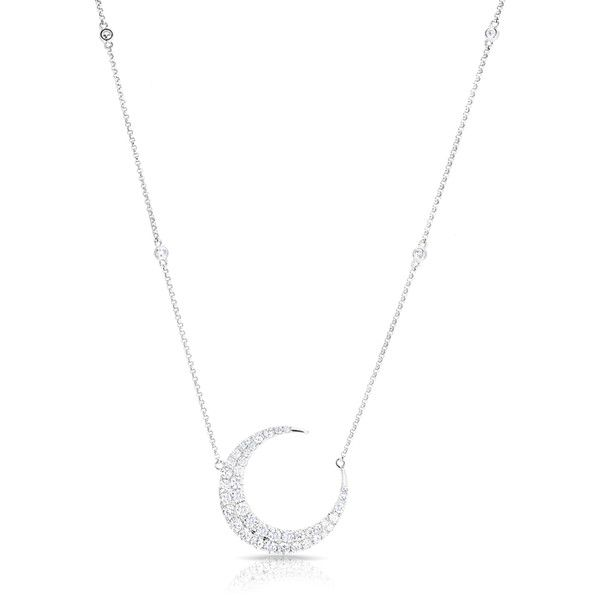 14kt white gold diamond moon with diamond chain necklace ($4,219) ❤ liked on Polyvore featuring jewelry, necklaces, star jewelry, diamond star necklace, white gold chain necklace, diamond necklace and white gold diamond jewelry