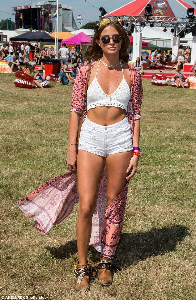 Boho babe: Millie Mackintosh looked chic as she stepped out for V Festival in Chelmsford, ...