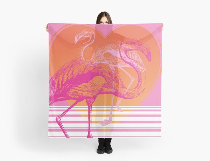 Pink Flamingos Scarf | Pink and Orange | Scarves | by Eclectic at HeART