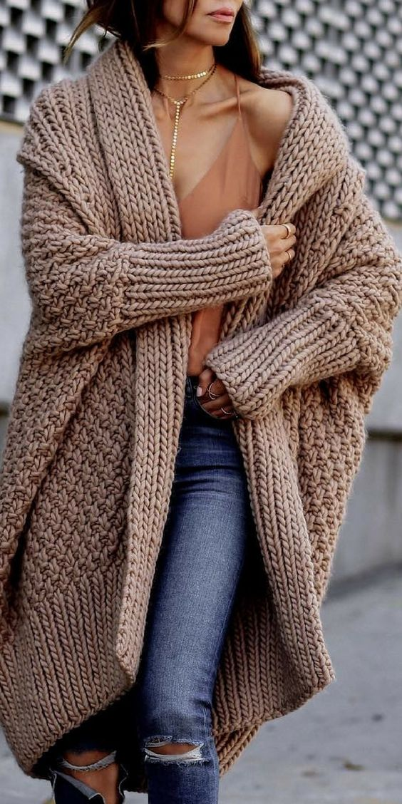 cozy oversized brown sweater