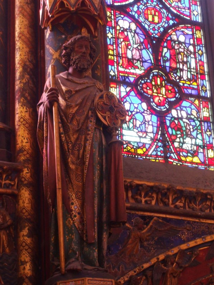 Thirteenth century stained glass in Paris' Sainte-Chapelle (upper chapel).