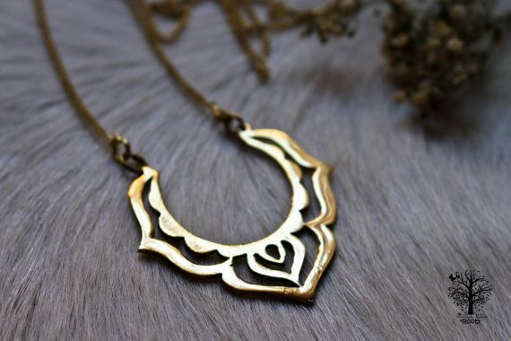 Lotus Flower Goddess necklace ,tribal necklace,brass jewelr, Tribal Jewellery, Ethnic Jewelry, brass necklace ,lotus flower pendant