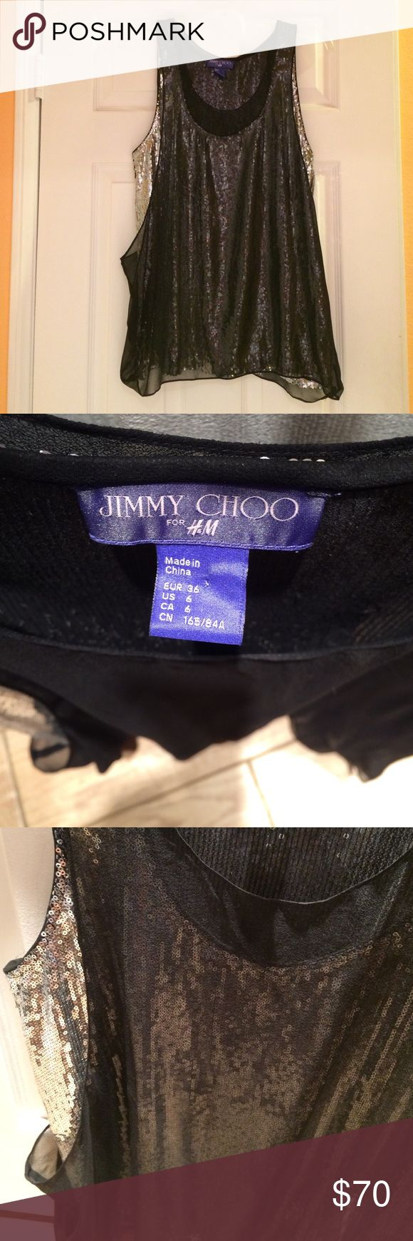 Shiny sequined black & silver top Jimmy Choo for H&M black silver silk top, new Jimmy Choo Tops Blouses