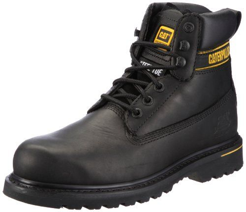 Caterpillar CAT Footwear Holton Steel Toe, Mens Work and Safety Boots, Black, 11 UK Lace Up Steel Toe Cap Safety Bootandlt