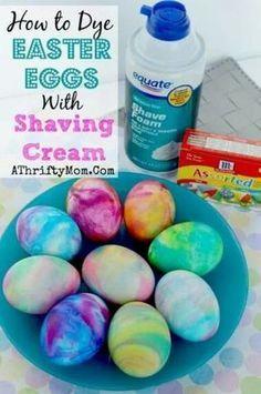 Shaving cream Easter eggs-Note to self do not eat the shaving cream eggs, but fun for kids to do