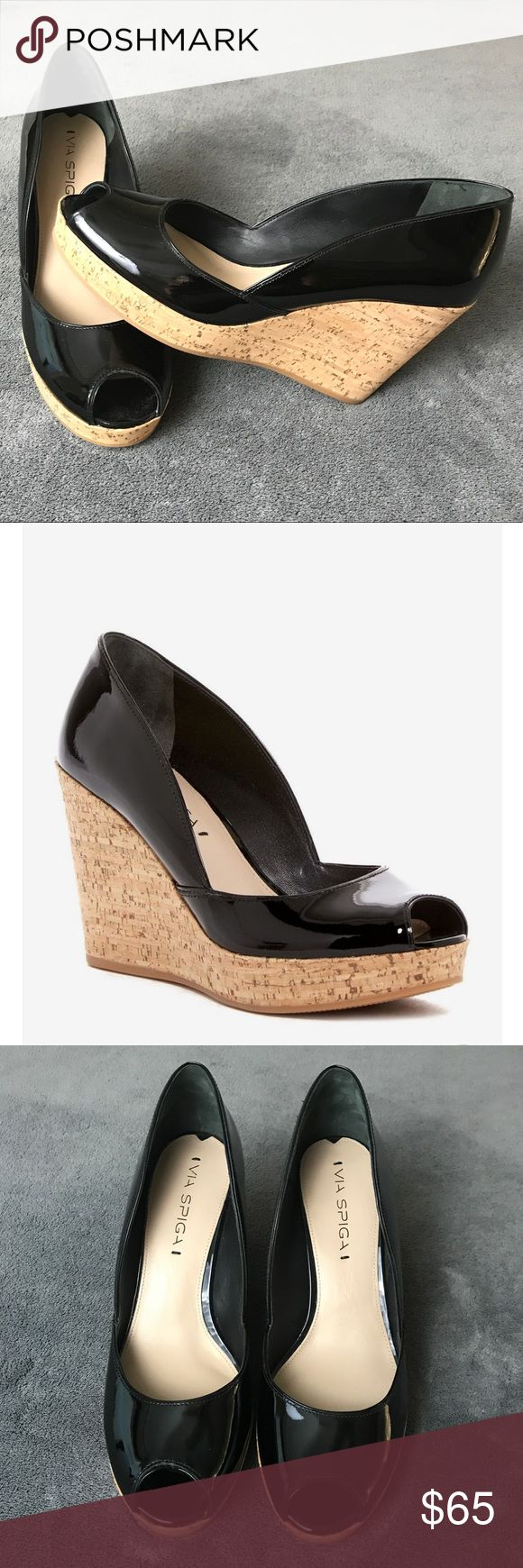 "Via Spiga Stan Peep Toe Cork Wedge Platform Pumps New w/o box. Features a cork wedge heel and platform, topped by a solid-hued glossy, patent-leather upper. Peep toe. Slip on style. Lightly padded insole. Wedge heel. Approximately 3.5"" heel and 1"" platform. Size: 8M Via Spiga Shoes Platforms"