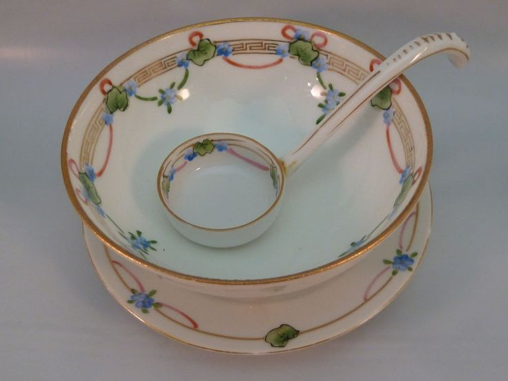 Nippon Footed Bowl with Ladle & Underplate Handpainted Florals 3 pc Set Vintage #Nippon #Asian