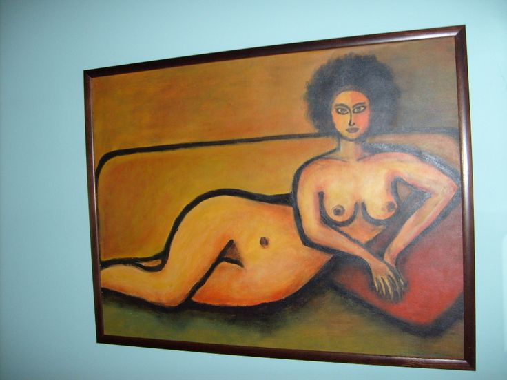 """Akt """"Kobieta z czerwoną poduszką"""" akryl na płótnie/  Woman with red pillow """"acrylic on canvas  /  60/80  , 250 € ;  http://pl.dawanda.com/shop/zamotka http://de.dawanda.com/shop/zamotka  http://en.dawanda.com/shop/zamotka http://zamotka.netgaleria.pl/"""