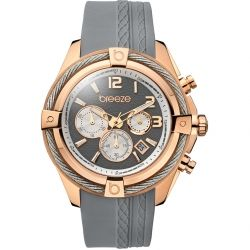 BREEZE Flirtini Rose Gold Grey Rubber Chronograph 110211.14