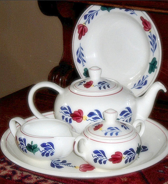 """Traditional Dutch """"Boerenbont"""" Tea Set...I think that most families had a set in their home, back in the 50's & 60's...maybe still today."""