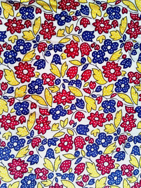 1 yard  Floral fabric with red and blue flowers and by JeAdore, $7.50
