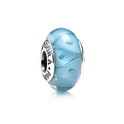 Turquoise looking glass charm in Murano glass with sterling silver core. $35 #charm #pandora #jewelry #muranoglass #murano