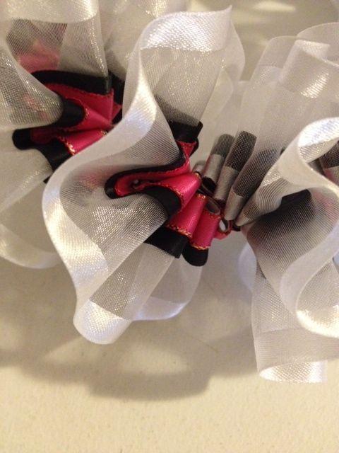 White, Black & Pink Plumeria Ribbon Lei