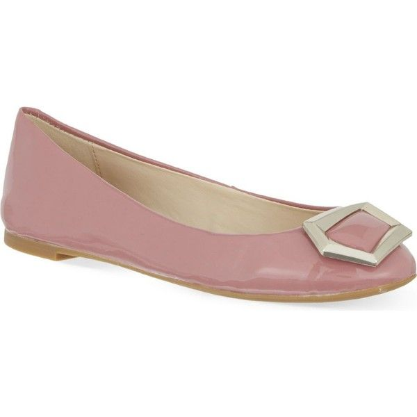 NINE WEST Abiss3 patent ballet flats (4660 RSD) ❤ liked on Polyvore featuring shoes, flats, pink, slip on shoes, patent leather flats, pink ballet flats, slip on flats and pink flats