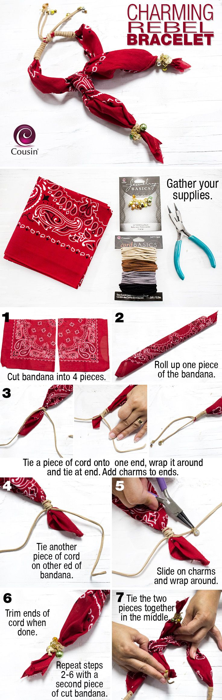 DIY bandana bracelets - unique uses for bandannas - how to make your own bandana bracelet - new ideas for friendship bracelets - rustic country chic fashion accessories
