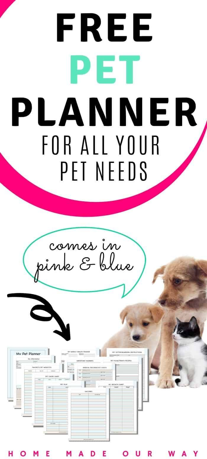 Pet Planner Printables Free Get Your Pet S Records Organized In 2020 Puppy Growth Chart Planner Printables Free Printable Planner