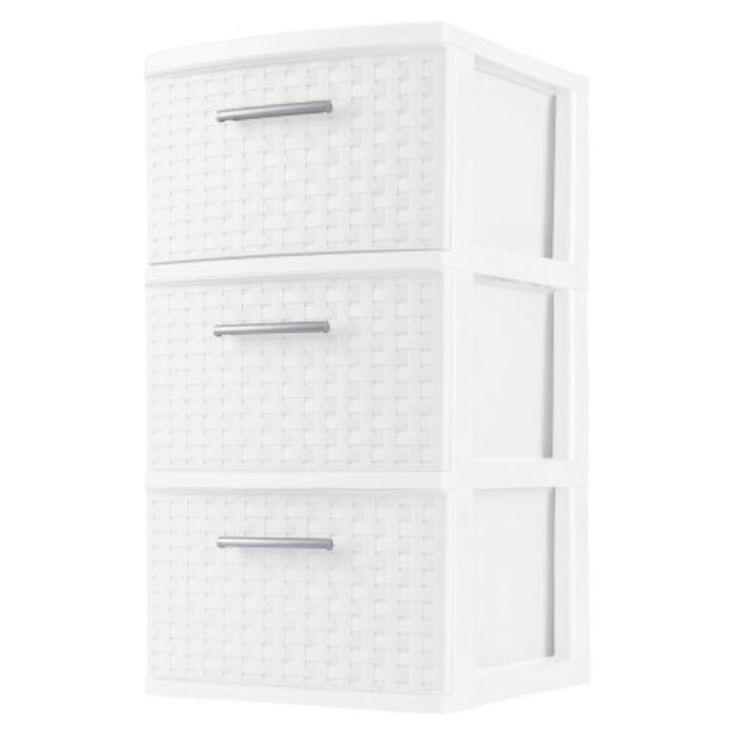 3 Drawer Weave Cart White Plastic Storage Organizer Set of 2 Home Office Dorm   Home & Garden, Household Supplies & Cleaning, Home Organization   eBay!
