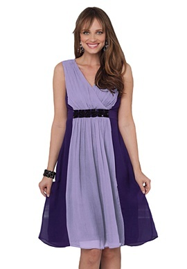 Woman Within  Dress in chiffon with beading and colorblock detail - slate/black, wisteria/deep purple, soft teal/royal teal