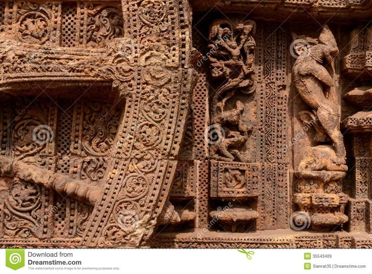 Ancient wall wheel sculptors at the Konark sun temple in Orissa. Description from dreamstime.com. I searched for this on bing.com/images