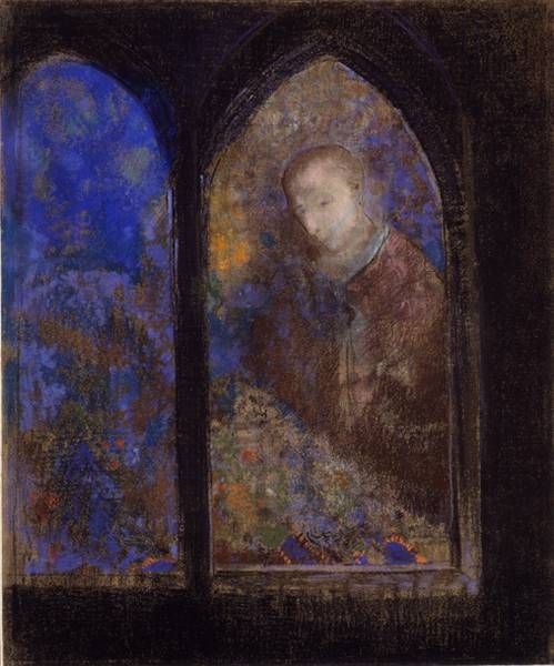 Odilon Redon - Mystical Painting of Girl and Flowers, 1905. Pastel, 65.79 x 51.12 cm