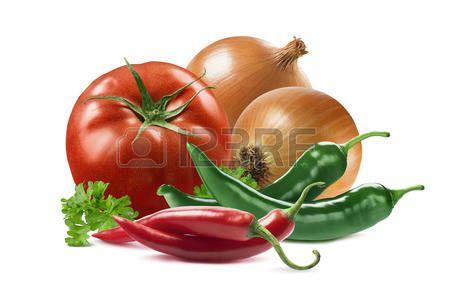 ortaggi disegno: verdure messicane pomodoro impostare cipolla peperoncino prezzemolo isolato su sfondo bianco come elemento di design della confezione