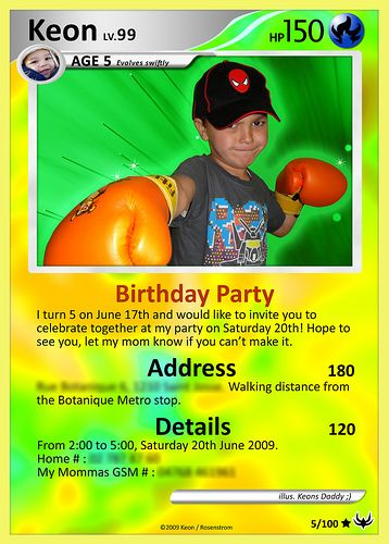 pokemon birthday party invitation...because I think this phase is going to last awhile...