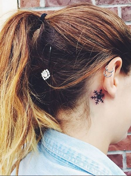 small snowflake tattoo behind the ear #ink #youqueen #girly #tattoos #snowflake