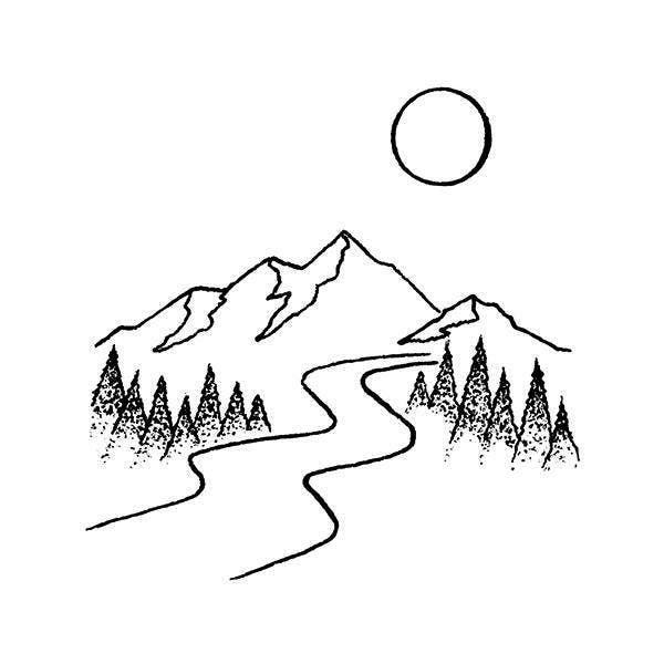Down Stream Tattoo Semi Permanent Tattoos By Inkbox Mountain Drawing Simple Nature Drawing Minimalist Drawing