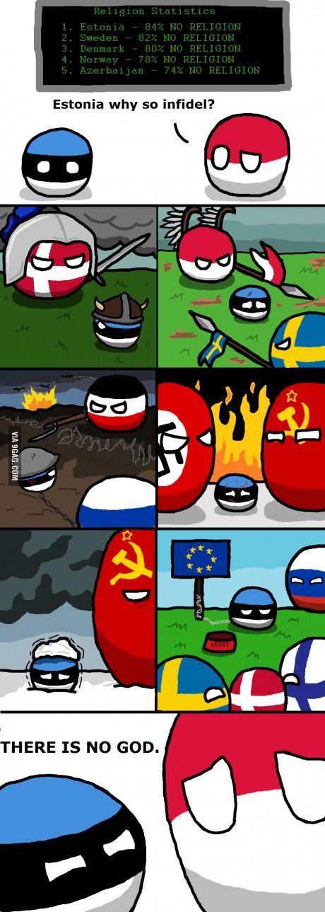"""poor Estonia... """"There is no God"""" ( Estonia ) by Pan Aaron #polandball…"""