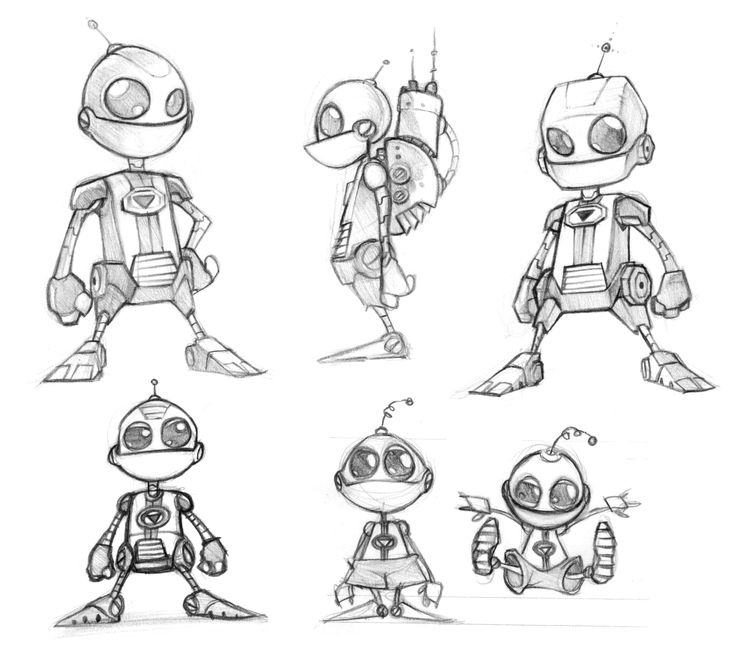 Insomniac - Ratchet and Clank. Character creation sketches showing different ideas and styles.