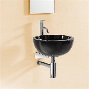 Smuk lille sort rund håndvask til bordplade