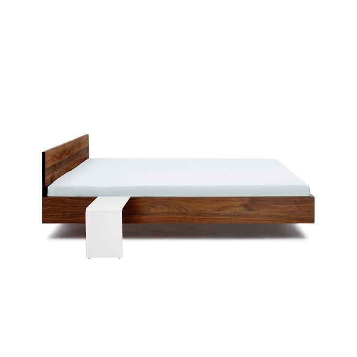 Simple Hi Walnut Floating Solid Wood Platform Bed