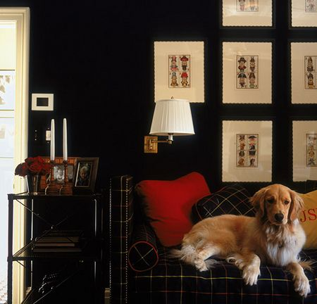 Bold use of colour create a perfect backdrop to display framed etchings.